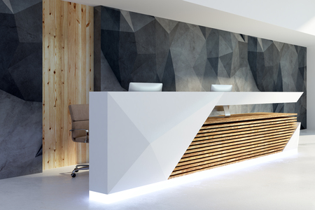 Side view of illuminated reception desk in clean office interior. Lobby and waiting area concept. 3D Rendering  Banco de Imagens