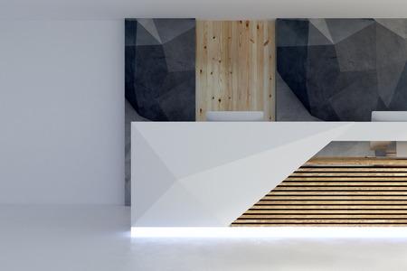 Vorderansicht des belichteten Aufnahmeschreibtischs im modernen Büroinnenraum. Lobby- und Wartebereichskonzept. 3D-Rendering