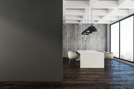Intérieur de la salle de réunion loft moderne avec affiche vide, mobilier et vue sur la ville. Concept de présentation. Maquette, rendu 3D