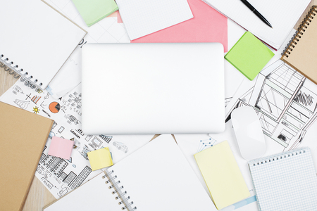 Top view of white office desktop with architectural sketch supplies top view of office workplace with laptop supplies and engineering blueprint architecture and occupation malvernweather Image collections