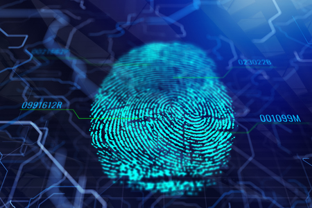 Abstract digital finger print background with text. Access and password concept. 3D Rendering