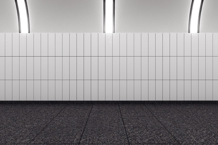 Modern subway interior with copy space on wall. Mock up, 3D Rendering