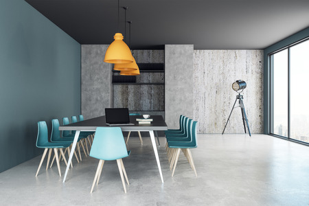 Blue meeting room interior with furniture and equipment. Discussion and presentation concept. 3D Rendering  스톡 콘텐츠