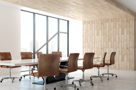 Modern meeting room interior with furniture, city view and daylight. 3D Rendering Foto de archivo