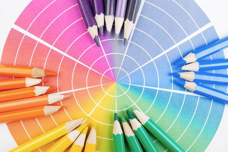 Color spectrum and pencils background  Stock Photo