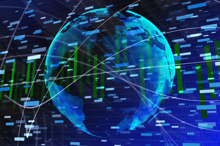 Abstract forex wallpaper with globe and chart bars. Trade, global business and finance concept. 3D Rendering  Stock Photo