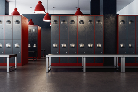 American locker room gym school interior. 3D Rendering