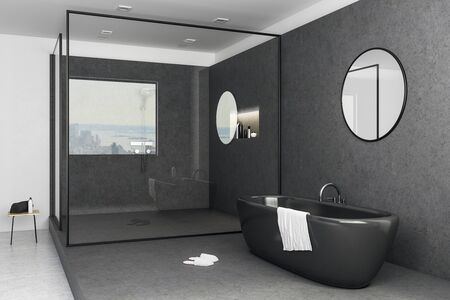 Luxury bathroom interior with city view, bathtub and other objects. 3D Rendering