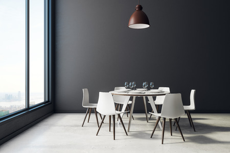 Black dining room interior with furniture, dishware, city view and copy space. Cafe, home or restaurant concept. 3D Rendering