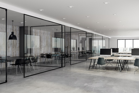 Concrete coworking glass office interior. 3D Rendering