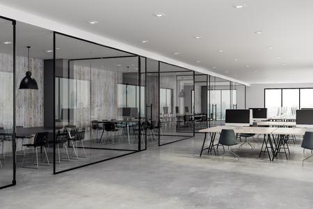 Betonnen coworking glazen kantoorinterieur. 3D-weergave Stockfoto