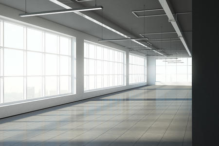 Empty warehouse interior with panoramic city view and daylight. Storage concept. 3D Rendering