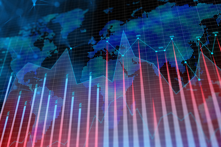 Abstract glowing forex background with map. Global business, trade and growth concept. 3D Rendering