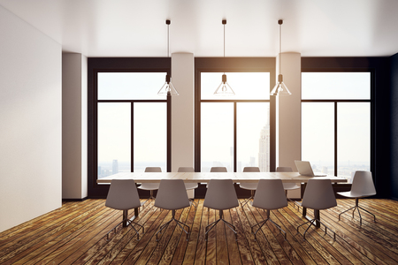 Modern meeting room interior with panoramic city view. 3D Rendering
