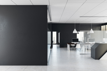 New office interior with empty wall and recpetion. Mock up, 3D Rendering