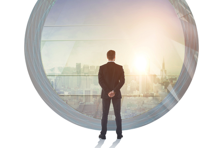 Success and career concept. Businessman in abstract office interior with city view. Double exposure