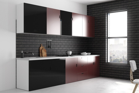 Bright kitchen interior with furniture and appliances. Style and design concept. 3D Rendering