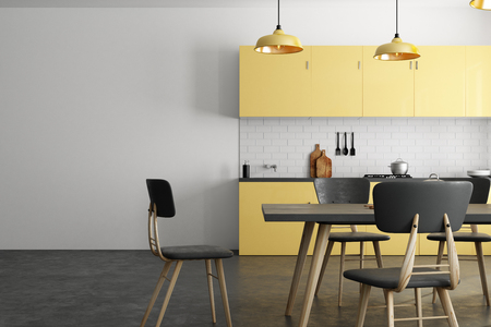Yellow kitchen interior with copy space on wall and furniture. Mock up, 3D Rendering