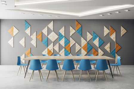 Contemporary meeting room interior with mosaic decor pattern on wall. 3D Rendering  Archivio Fotografico