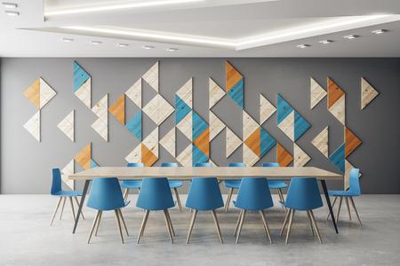 Intérieur de la salle de réunion contemporaine avec motif de décoration en mosaïque sur le mur. Rendu 3D Banque d'images