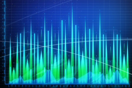 Analysis, finance and profit wallpaper. Abstract forex chart. 3D Rendering  Stock Photo