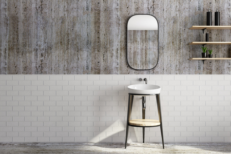 Contemporary bathroom interior with washbasin, shelves with items, mirror and copy space. Mock up, 3D Rendering  Stockfoto