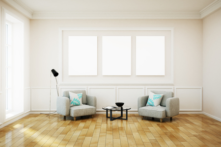 Bright white living room interior with empty poster on wall. Mock up, 3D Rendering  Stock Photo