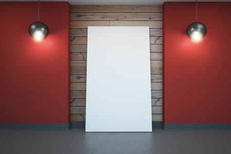Modern interior with empty white poster. Mock up, 3D Rendering