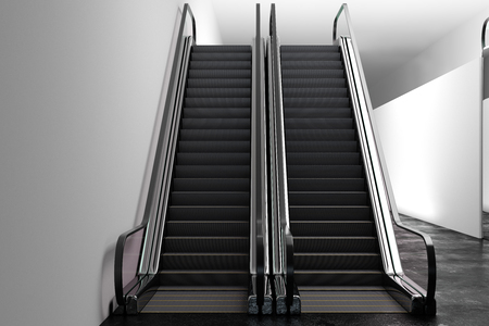 Abstract silver escalator in metro interior. Concrete wall background with copy space. Transport concept. 3D Rendering  Stock Photo