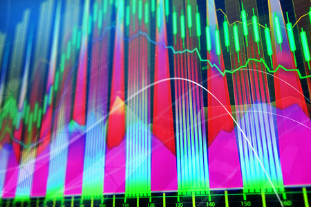 Bright glowing forex chart wallpaper. Investment, finance and trade concept. 3D Rendering