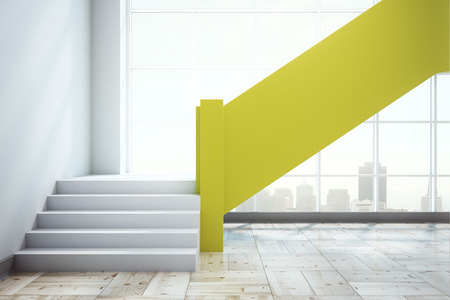 Contemporary concrete office interior with yellow stairscase, panoramic city view and copy space. Mock up, 3D Rendering  Stock Photo