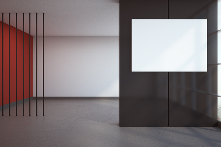 Contemporary interior with empty white banner. Mock up, 3D Rendering  Stock Photo