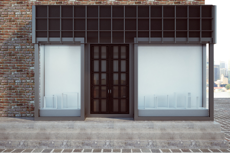 Modern glass storefront with empty billboard. Retail and commerce concept. Mock up, 3D Rendering  Stock Photo