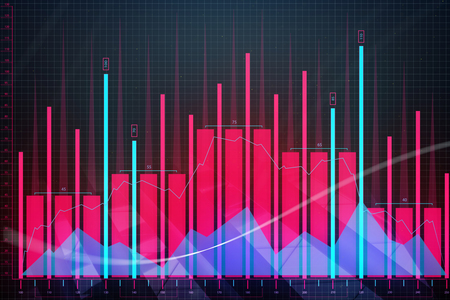 Creative glowing red forex chart background. Finance and analysis concept. 3D Rendering