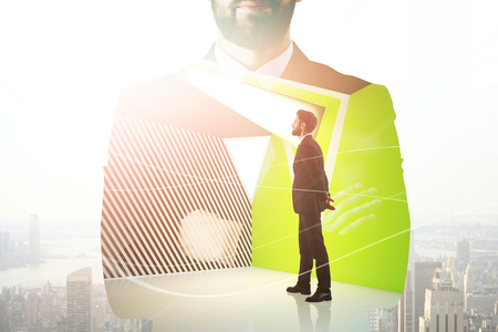 Portrait of thoughtful young european businessman on abstract city office interior background. Success and job concept. Double exposure