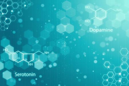 Creatieve gloeiende chemische achtergrond. Chemie concept. 3D-weergave