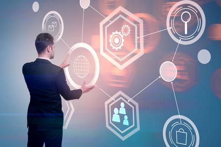 Businessman managing abstract digital business interface. Blockchain and finance concept. 3D Rendering  Standard-Bild