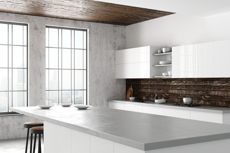 Light loft kitchen interior with furniture, appliances, city view and daylight. Side view. 3D Rendering
