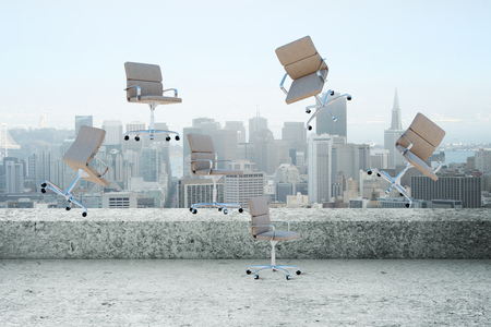 Abstract floating chairs on rooftop city background. 3D Rendering Stock fotó - 103478432