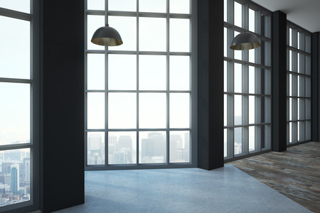 Empty modern loft style room with floor-to-ceiling window, wooden floor and megapolis city view. 3D render Stock Photo
