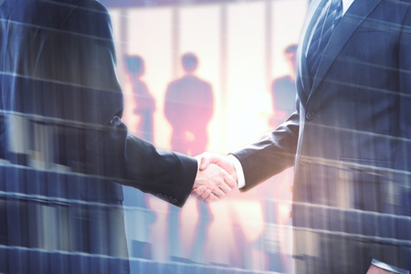 double explosure of businessmen handshake at abstract background and city bulding. 3D render