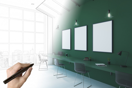human hand drawing sketch of modern eco office with blank white posters on green wall. 3D render