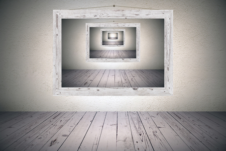 surrealistic optical illusion with wooden picture frame on concrete wall in room with wooden floor. 3d rendering