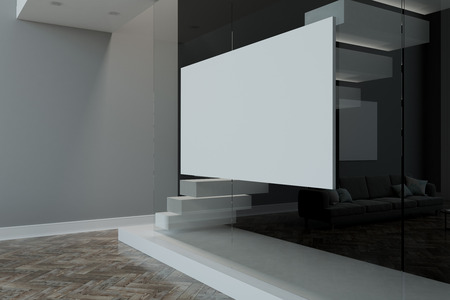 Big blank white poster on glass wall in modern living room with parket and light grey walls. 3D rendering Stockfoto