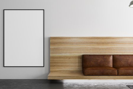 big blank banner on light wall on the left of vintage brown leather furniture in loft style room with concrete floor. 3D rendering