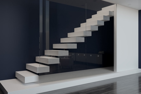 blank white slab between floors and white stairs behind glass wall ini modern apartment. 3D rendering