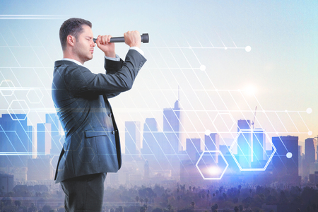 look into the future concept with double exposure of businessman looking through a telescope and abstract technology illustration Stock Photo