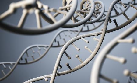 Estructura de la molécula de ADN, interfaz futurista de ciencia ficción. Representación 3d