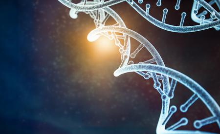 modelo de parte del ADN humano (modelo 3d) en abstracto oscuro con fondo claro. Representación 3d Foto de archivo
