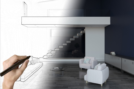 hand drawing unfinished living room interior sketch with mockup wall. project plan concept. 3D rendering Imagens